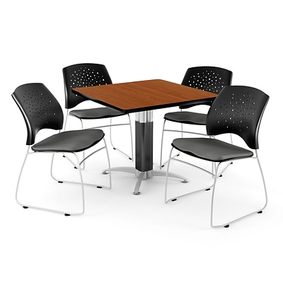 OFM™ 42 Square Cherry Laminate Multi-Purpose Table With 4 Chairs, Slate Gray