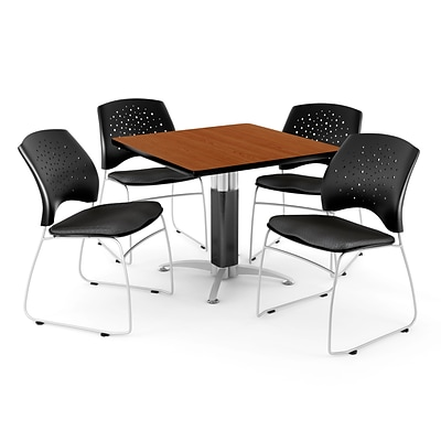 OFM™ 42 Square Cherry Laminate Multi-Purpose Table With 4 Chairs, Black