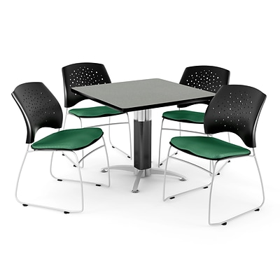 OFM™ 42 Square Gray Nebula Laminate Multi-Purpose Table With 4 Chairs, Shamrock Green