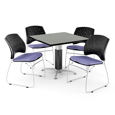 OFM™ 42 Square Gray Nebula Laminate Multi-Purpose Table With 4 Chairs, Lavender