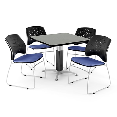 OFM™ 36 Square Gray Nebula Laminate Multi-Purpose Table With 4 Chairs, Colonial Blue