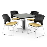 OFM™ 36 Square Gray Nebula Laminate Multi-Purpose Table With 4 Chairs, Golden Flax