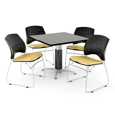 OFM™ 42 Square Gray Nebula Laminate Multi-Purpose Table With 4 Chairs, Golden Flax