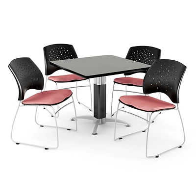 OFM™ 42 Square Gray Nebula Laminate Multi-Purpose Table With 4 Chairs, Coral Pink
