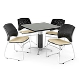 OFM™ 36 Square Gray Nebula Laminate Multi-Purpose Table With 4 Chairs, Khaki