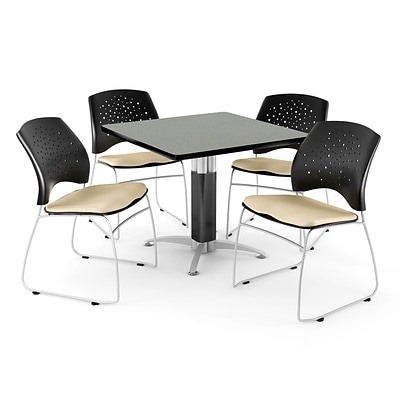 OFM™ 42 Square Gray Nebula Laminate Multi-Purpose Table With 4 Chairs, Khaki
