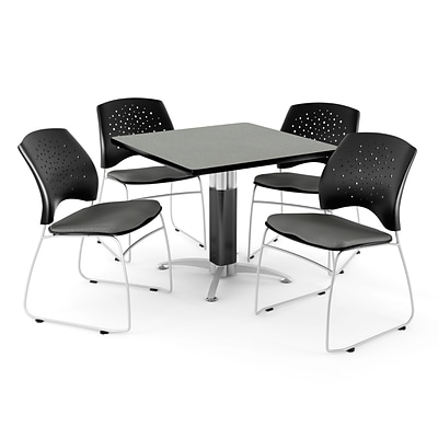 OFM™ 36 Square Gray Nebula Laminate Multi-Purpose Table With 4 Chairs, Slate Gray