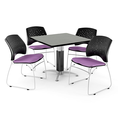 OFM™ 42 Square Gray Nebula Laminate Multi-Purpose Table With 4 Chairs, Plum