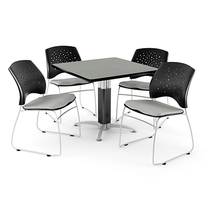 OFM™ 36 Square Gray Nebula Laminate Multi-Purpose Table With 4 Chairs, Putty