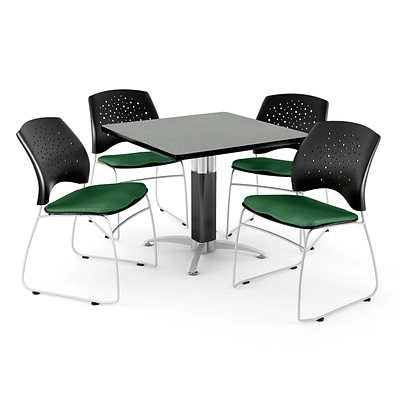 OFM™ 42 Square Gray Nebula Laminate Multi-Purpose Table With 4 Chairs, Forest Green