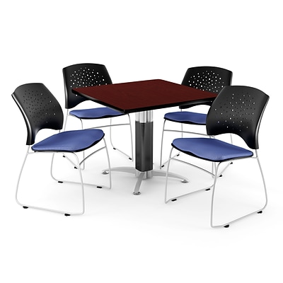 OFM™ 36 Square Mahogany Laminate Multi-Purpose Table With 4 Chairs, Colonial Blue