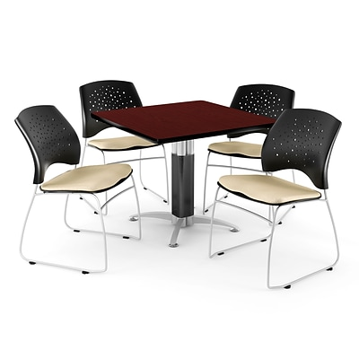 OFM™ 42 Square Mahogany Laminate Multi-Purpose Table With 4 Chairs, Khaki