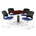 42 Royal Blue SQR MHGNY LAM Table W/4 CHR