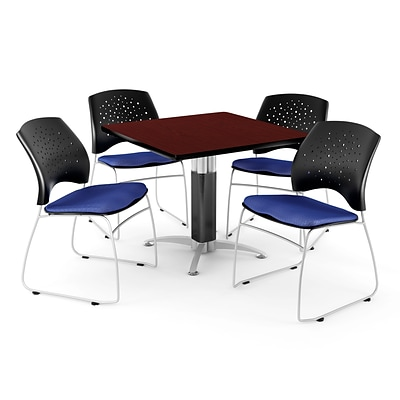 OFM™ 36 Square Mahogany Laminate Multi-Purpose Table With 4 Chairs, Royal Blue