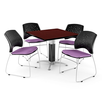 OFM™ 42 Square Mahogany Laminate Multi-Purpose Table With 4 Chairs, Plum