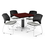 OFM™ 36 Square Mahogany Laminate Multi-Purpose Table With 4 Chairs, Putty