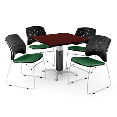 OFM™ 42 Square Mahogany Laminate Multi-Purpose Table With 4 Chairs, Forest Green