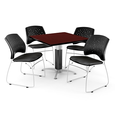 OFM™ 36 Square Mahogany Laminate Multi-Purpose Table With 4 Chairs, Black