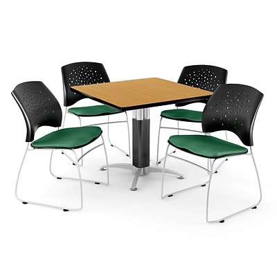 OFM™ 36 Square Oak Laminate Multi-Purpose Table With 4 Chairs, Shamrock Green