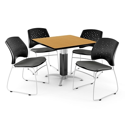 OFM™ 36 Square Oak Laminate Multi-Purpose Table With 4 Chairs, Slate Gray