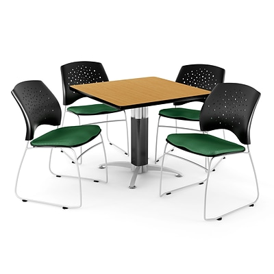 OFM™ 42 Square Oak Laminate Multi-Purpose Table With 4 Chairs, Forest Green