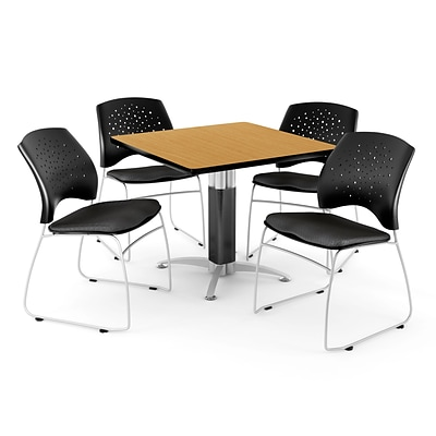 OFM™ 42 Square Oak Laminate Multi-Purpose Table With 4 Chairs, Black