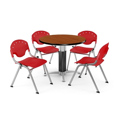 OFM™ 42 Round Cherry Laminate Multi-Purpose Table With 4 Rico Chairs, Red
