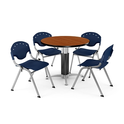 OFM™ 42 Round Cherry Laminate Multi-Purpose Table With 4 Rico Chairs, Navy