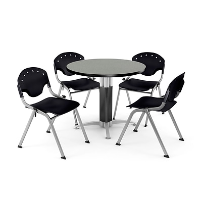 OFM™ 42 Round Gray Nebula Laminate Multi-Purpose Table With 4 Rico Chairs, Black