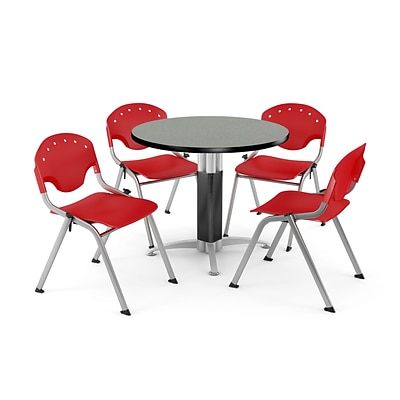 OFM™ 36 Round Gray Nebula Laminate Multi-Purpose Table With 4 Rico Chairs, Red