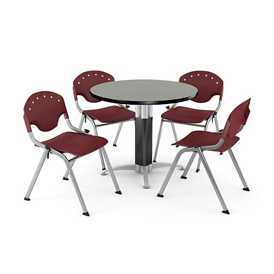 OFM™ 42 Round Gray Nebula Laminate Multi-Purpose Table With 4 Rico Chairs, Burgundy