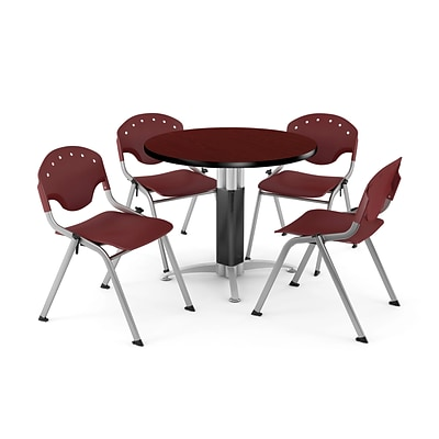 OFM™ 42 Round Mahogany Laminate Multi-Purpose Table With 4 Rico Chairs, Burgundy