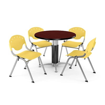 OFM™ 42 Round Mahogany Laminate Multi-Purpose Table With 4 Rico Chairs, Lemon Yellow