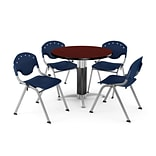 42 Navy Round Mahogany LAM Table W/4 CHR