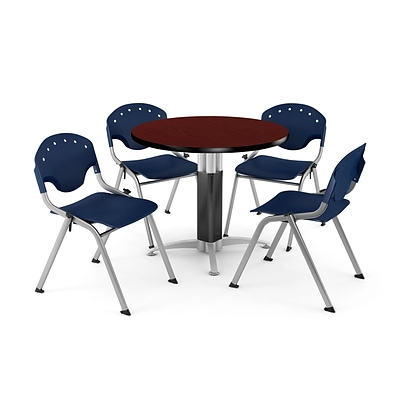 OFM™ 42 Round Mahogany Laminate Multi-Purpose Table With 4 Rico Chairs, Navy