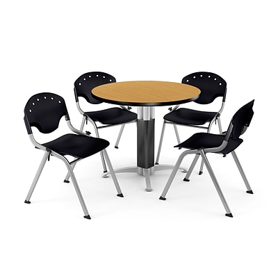 OFM™ 36 Round Oak Laminate Multi-Purpose Table With 4 Rico Chairs, Black