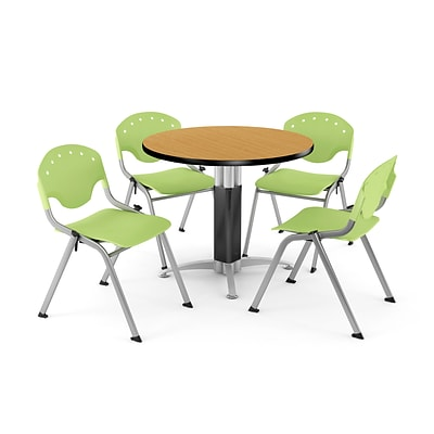 OFM™ 36 Round Oak Laminate Multi-Purpose Table With 4 Rico Chairs, Lime Green