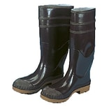 Mutual Industries 16 PVC Sock Boots With Steel Toe, Black, Size 10