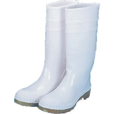 Mutual Industries 16 PVC Sock Boots With Steel Toe, White, Size 8