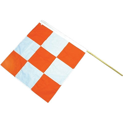 Mutual Industries Airport Flag With Staff, 36 x 36, Orange/White