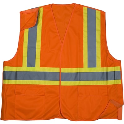 Mutual Industries MiViz ANSI Class 2 Solid Tearaway Safety Vest With Pockets; Orange, Medium