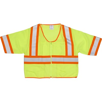 Mutual Industries MiViz ANSI Class 3 High Visibility Mesh Safety Vest With Pockets; Lime, Medium