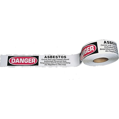 Mutual Industries Asbestos Hazard 3 Color Barricade Tape, 3 x 1000, White/Red, 10/Box