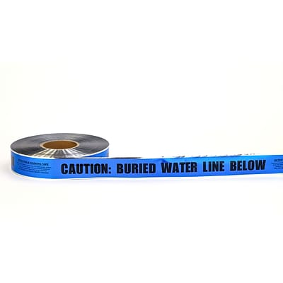 Mutual Industries Buried Water Line Underground Detectable Tape, 2 x 1000, Blue