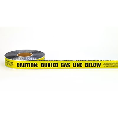 Mutual Industries Gas Line Underground Detectable Tape, 2 x 1000, Yellow