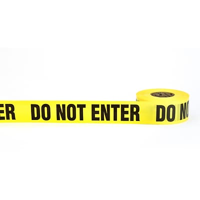 Mutual Industries DO NOT ENTER Barricade Tape, 3 x 1000, Yellow, 10/Box