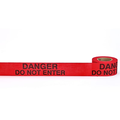 Mutual Industries Danger Do Not Enter Repulpable Barricade Tape, 2 x 45 yds., Red, 30/Box