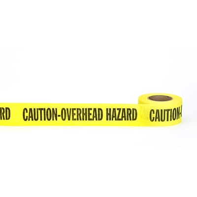 Mutual Industries Caution Overhead Hazard Repulpable Barricade Tape, 2 x 45 yds., Yellow, 30/Box