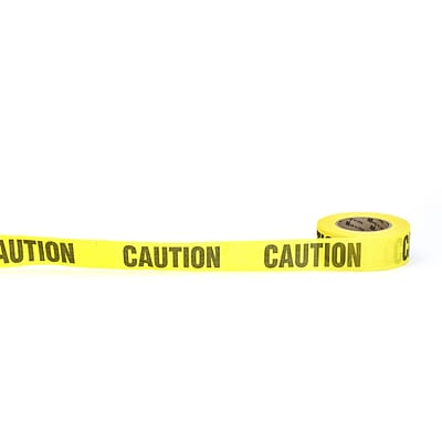 Mutual Industries Caution Repulpable Barricade Tape, 2 x 45 yds., Yellow, 30/Box