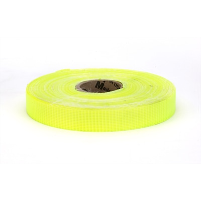 Mutual Industries Reinforced Barricade Tape, 3/4 x 50 yds., Glo Lime, 10/Box